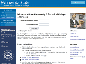 MnSCU eservices site with MSCTC look & feel