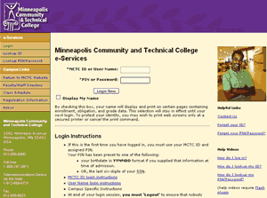 MnSCU eservices site with MCTC look & feel