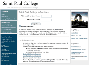 MnSCU eservices site with Saint Paul College look & feel